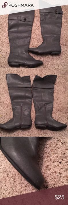Knee high boots. Price negotiable. gray faux leather boots. worn one time, too big. great condition. small white speck of paint on toe of right boot that is shown in the picture. super cute boots! :) Shoes