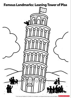 Color In The Leaning Tower Of Pisa PisaColoring SheetsFine
