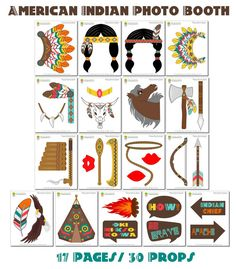 American Indian Photo Booth Props31 Pieces 25 by HappyFiestaDesign