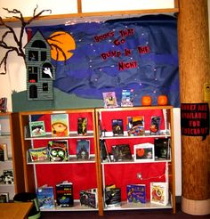 Scary Book Display Halloween Library  So doing this in October!
