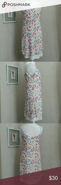 "CAbi Floral Shift Dress Impressionist spring floral print on white with adjustable straps, shallow v-neck, peek-a-boo slip 17.5""bust, 17"" waist CAbi Dresses Midi"