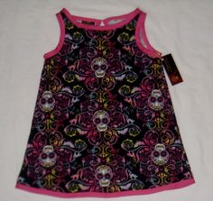 New Punk Sugar Skull Day of the Dead Pink Tattoo Gothic baby girl