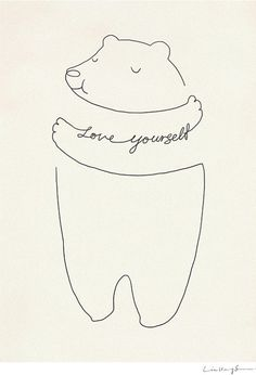 "Cute way to draw a bear hug! You could say, ""thinking of you"" or ""I love you"", ""get well"", etc."
