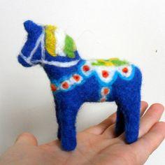 Needle felted Swedish Dala Horse Sculpture. £26.00, via Etsy.