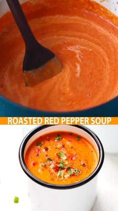 Low Carb Roasted Red Pepper Soup – very simple to make, creamy, healthy and nutritious soup, that takes 30 minutes to make. Vegan Dinners, Healthy Dinner Recipes, Cooking Recipes, Lunch Recipes, Healthy Meals, Diet Recipes, Roasted Red Pepper Soup, Roasted Red Peppers, Red Pepper Sauce
