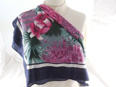 "Vintage Overseas Advantage Tropical Pink Floral Scarf,  Unused NOS 27"" x 28"" by Dockb30Crafts on Etsy"