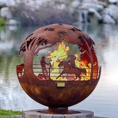 """Round Up 37"""" Ranch Steel Fire Pit Sphere With Flat Steel Base by Melissa Crisp"""