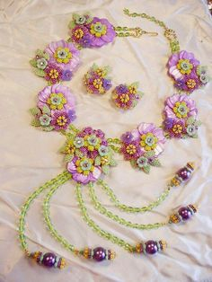 """Stanley HAGLER Ian ST. GIELAR 2 1/2"""" Over The TOP Necklace Earring SET Glass Jewelry"""