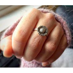 This boho style sterling silver sunflower ring is perfect for those bohemian women who love sunflowers. It has a hippie / gypsy vibe. It feels like summer every time you wear it! - The circumference of the sunflower is 14 mm. - It is sterling silver and marked with .925 stamp. Get it
