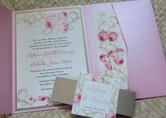 Pocketfold Wedding Invitation in Pink and Gold by LesliesCardart, $4.00
