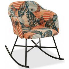 Silla mecedora de diseño moderno y tapizado de tela de estilo tropical en tonos naranja. Decoración original y destacada. De 78x63 cm
