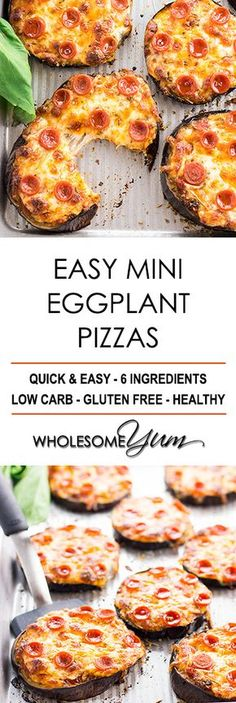Easy Mini Eggplant Pizza Recipe - Low Carb - This easy, low carb eggplant pizza recipe needs just 6 ingredients! See how to make eggplant pizza faster than other methods - only 30 minutes total. (how to cook eggplant) Best Low Carb Recipes, Low Carb Dinner Recipes, Lunch Recipes, Seafood Recipes, Appetizer Recipes, Vegetarian Recipes, Cooking Recipes, Healthy Recipes, Dairy Recipes