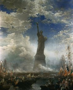 On The Statue of Liberty is dedicated in New York Harbor by President Grover Cleveland. Originally known as… The New Colossus, Grover Cleveland, New York Harbor, Happy Fourth Of July, World History, Back In The Day, Statue Of Liberty, Around The Worlds, Artwork