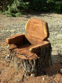 Tree stump chair..In our last house we had a huge section of log that was down by our creek , my hubby curved it into a love seat  and dug out a place on each end for me to plant flowers.....I loved it!   Sure do miss it  wish I had taken a pic of it !!