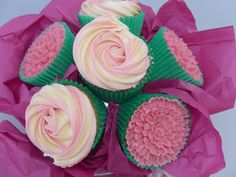 Cupcake bouquet with piped buttercream flowers.