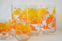 Libbey Drinking Glasses, Glassware 1969 Dandelions in Yellow and Orange - Tumblers and Juice Glasses