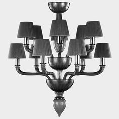 #Artistic 12 lights #glass double tier #chandelier. #Grey color with matching #lampshades.