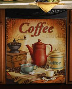 Vintage Coffee Kitchen Magnetic Dishwasher Cover - or the side of the refrigerator Dishwasher Cover, Dishwasher Magnet, Refrigerator Magnets, I Love Coffee, My Coffee, Coffee Cafe, Coffee Shop, Coffee Theme Kitchen, Collections Etc
