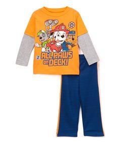 Orange & Blue Paw Patrol Layered Tee & Sweatpants - Toddler #zulily #zulilyfinds