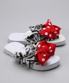 Red Zebra Ruffle Flip-Flops by Sweets - So easy to copy as a DIY.