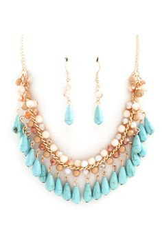 Ella Necklace in Crystal and Turquoise