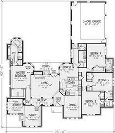 Main Floor Plan: 58-242 Like the library/study combo