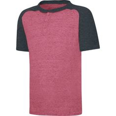 Hanes X-Temp Boys' Short Sleeve Raglan Henley T-Shirt, Size: XS, Red