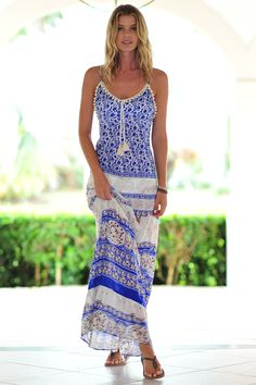 Gaja Printed Maxi Dress in Blue/Ivory perfect for the beach.