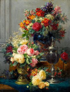 """art-and-things-of-beauty: """" Jean-Baptiste Robie (1821-1910) - Still life with flowers. """""""