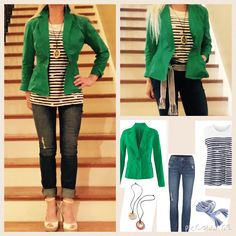 I could do this with my kelly green Talbot's jacket, striped tee, and dark wash jeans.