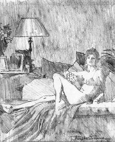 Robert McGinnis Sketch 2 (byuk vintage) saved by @feetvicious2 #feetvicious2 #longlegs #justfeet #illustration #drawing
