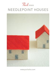 Needlepoint Houses Kit from Purl Soho: The bucolic charm of a quiet village is brought to life with Purl Soho's trio of Needlepoint Houses. Made with hand-dyed, 100% merino yarn, these miniature homes are soft, simple and incredibly inviting! Each Needlepoint Houses Kit includes 100% hand-dyed merino yarn (1 full skein of ecru and 1 mini-skein of bright red, dark red, rust and gray); a plastic mesh canvas, 14 count; a needlepoint needle, size 22; a sewing needle; cotton thread; and a ...