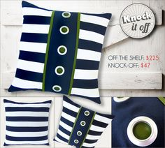 Designer Pillow Knock-Offs with Fairfield: Nautical Stripes & Grommets