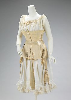 Wedding underthings, corset, camisole, petticoats, 1903