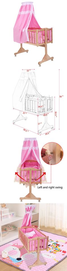 Nursery Furniture 20422: Baby Crib Bed Infant Toddler Lockable Cradle Rocking Baby Child Nursery Pink -> BUY IT NOW ONLY: $49.99 on eBay!