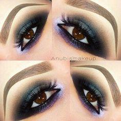 Purple and black smokey eye. Super dramatic and beautiful!!!