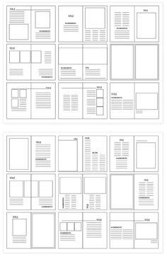 Grid structures are the layout look of where the image and body copy will be placed on what is being created. They are very important because they breakup the layout of the design so you can imaging the way you want your design to be. Editorial Design Layouts, Magazine Layout Design, Book Design Layout, Graphic Design Layouts, Print Layout, Magazine Layouts, Grid Graphic Design, Design Posters, Graphisches Design