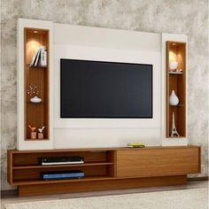 Foto 1 - Estante Home Para Tv Até 46 Polegadas 1 Porta De Correr Led Tb129l Dalla Costa Off White/freijó