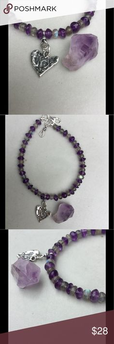 "NEW!💃🏼Labradorite & Amethyst ""Joy"" Bracelet Thanks for taking a closer look! If you've shopped with me before, you know that I ONLY use the finest gemstones and Sterling Silver unless otherwise noted. For this, I used beautiful, shimmery labradorite and amethyst. I added a gorgeous, artisan-made Sterling charm with a simple message, ""JOY"". Lobster clasp is also fine sterling silver. Length is 8.25, but may be adjusted upon request. Comes with my signature, feathered gift box…"