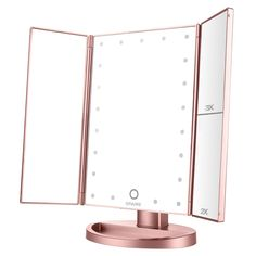 Mirrors Makeup Mirrors Earnest Profession Led Makeup Mirror Double-sided Rotation Folding Lighted Vanity Mirror Screen Portable Tabletop Lamp Clear-Cut Texture
