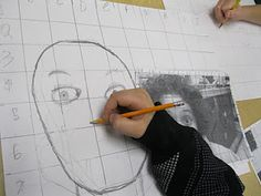 Using a grid to create self portraits.