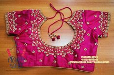 Beautiful pink color designer blouse with rice pearl hand embroidery work all over the blouse. Traditional Blouse Designs, Simple Blouse Designs, Blouse Neck Designs, Mirror Work Blouse Design, Wedding Saree Blouse Designs, Maggam Work Designs, Designer Blouse Patterns, Aari Embroidery, Embroidery Kits