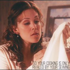 The amount of concentration that it takes to sew something to your sleeve- astounding@ErinKrakow #WhenCallsTheHeart