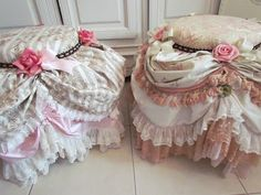 Boudoir Chairs These days I am enjoying myself and going  all out with making frilly froufrou poufs,  try saying that three times in a row...