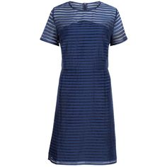 Sugarhill Boutique Stripe Organza Dress, Navy ($54) ❤ liked on Polyvore