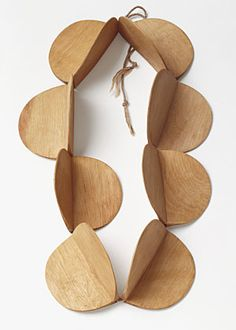 Dimensional Circles - White Beech Wood Necklace by Dorothea Pruehl - contemporary jewellery design