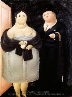 Painting Reproduction of La Visita, Fernando Botero