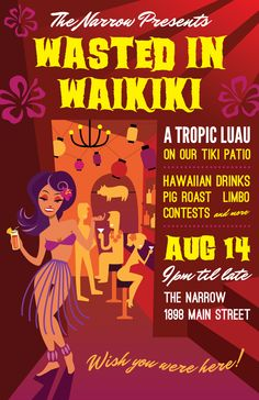 Luau poster for The Narrow Lounge in Vancouver, BC, by http://fancypants-design.com/