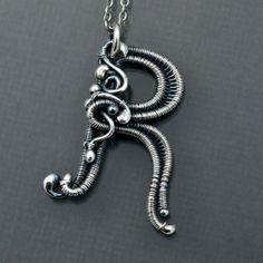 Fine Silver Monogram Initial Pendant - Letter R Pendant - Monogram Initial Jewelry
