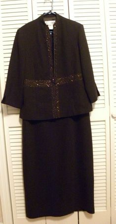 JESSICA HOWARD 2 PC Dress & Jacket Ensemble Plus Sz 16 Dark Brown Beaded Dressy #JessicaHoward #2PcJacketDressSheath #Dressy Choker Dress, Jacket Dress, Sheath Dress, Fit And Flare, Dark Brown, Jackets, Dresses, Women, Fashion